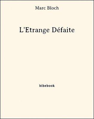 L'Étrange Défaite - Bloch, Marc - Bibebook cover
